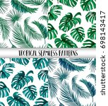 tropical palm leaves  jungle... | Shutterstock .eps vector #698143417