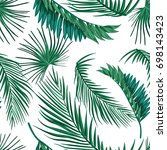 tropical palm leaves  jungle... | Shutterstock .eps vector #698143423