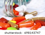 variety of different tablets... | Shutterstock . vector #698143747