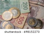 mexican coins and bills | Shutterstock . vector #698152273