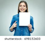 happy young woman holding sign...   Shutterstock . vector #698152603