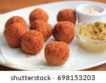 bitterballen with mustard  warm ... | Shutterstock . vector #698153203
