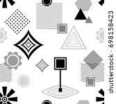 set  abstract seamless pattern...   Shutterstock .eps vector #698158423