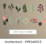 set natural branches leaves.... | Shutterstock .eps vector #698166013