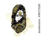 beautiful oriental girl in a... | Shutterstock .eps vector #698173183