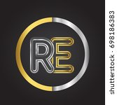 re letter logo in a circle.... | Shutterstock .eps vector #698186383