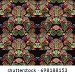 paisley watercolor ethnic... | Shutterstock . vector #698188153