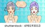 pop of cartoon woman with... | Shutterstock .eps vector #698193013