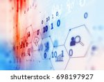 fintech icon  on abstract... | Shutterstock . vector #698197927