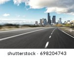 empty asphalt road with... | Shutterstock . vector #698204743