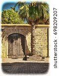 Stone Wall With Old Gate...