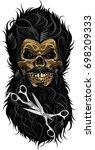 skull barbershop   Shutterstock .eps vector #698209333