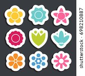 flower sticker icon collection. ... | Shutterstock .eps vector #698210887