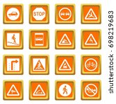 road sign set icons set in... | Shutterstock .eps vector #698219683