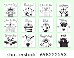 cards with funny animals and... | Shutterstock .eps vector #698222593
