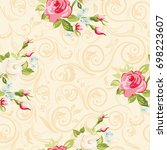 seamless floral pattern with...   Shutterstock .eps vector #698223607