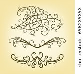 vector set of pretty border or...   Shutterstock .eps vector #698239393