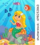 cute little mermaid on the sea... | Shutterstock .eps vector #698252863