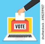 voting online concept. hand... | Shutterstock .eps vector #698259907