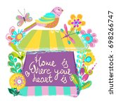 home sweet home illustration ... | Shutterstock .eps vector #698266747