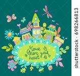 home sweet home illustration ... | Shutterstock .eps vector #698266813