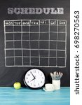grid timetable schedule on... | Shutterstock . vector #698270563