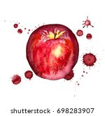 watercolor image of red apple... | Shutterstock . vector #698283907