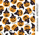 halloween seamless pattern with ... | Shutterstock .eps vector #698295127