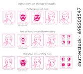 three instructions for use face ... | Shutterstock .eps vector #698301547