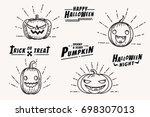 pumpkins halloween holiday... | Shutterstock .eps vector #698307013