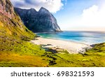 mountain sea beach landscape | Shutterstock . vector #698321593