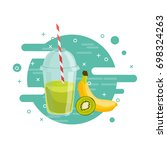 fruit fresh smoothie drink... | Shutterstock .eps vector #698324263