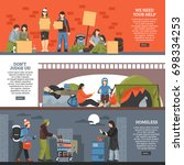 three horizontal homeless... | Shutterstock .eps vector #698334253