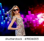 young woman dancing at disco or ... | Shutterstock . vector #69836005