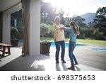 happy granddaughter and...   Shutterstock . vector #698375653