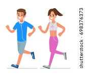 man and woman couple running.... | Shutterstock . vector #698376373
