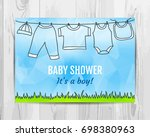 baby boy shower invitation card. | Shutterstock .eps vector #698380963