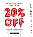 20 percent  off discount... | Shutterstock . vector #698381923