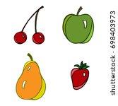 set of hand drawn fruits. apple ... | Shutterstock .eps vector #698403973