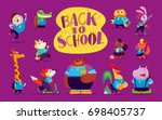 flat collection of happy funny... | Shutterstock . vector #698405737