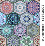 oriental seamless pattern in... | Shutterstock .eps vector #698418073
