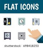flat icon safe set of safe ... | Shutterstock .eps vector #698418253