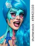 fashionable zombie girl.... | Shutterstock . vector #698421103