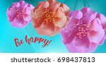 greeting card with roses  can...   Shutterstock .eps vector #698437813
