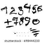 set of charcoal vector numbers...