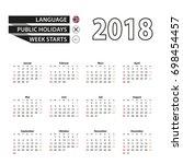 2018 calendar in norwegian... | Shutterstock .eps vector #698454457