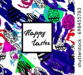 easter greeting card with hand... | Shutterstock .eps vector #698455783
