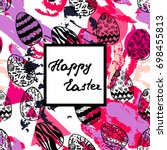 easter greeting card with hand... | Shutterstock .eps vector #698455813
