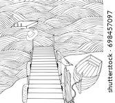 old wooden pier. seascape.... | Shutterstock . vector #698457097