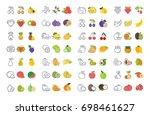 set vector elements of fruits... | Shutterstock .eps vector #698461627